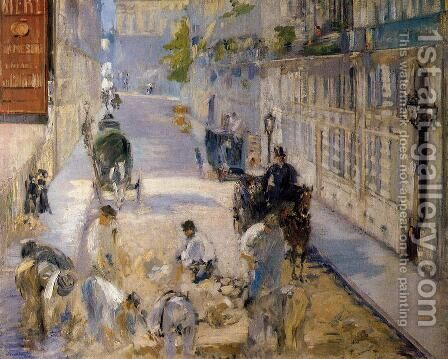 Rue Mosnier with Road Menders by Edouard Manet - Reproduction Oil Painting