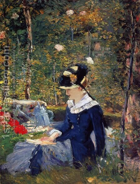 Young Woman in the Garden by Edouard Manet - Reproduction Oil Painting