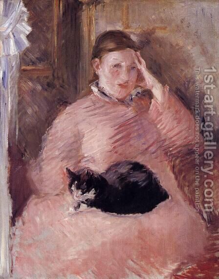 Woman with a Cat, Portrait of Madame Manet by Edouard Manet - Reproduction Oil Painting