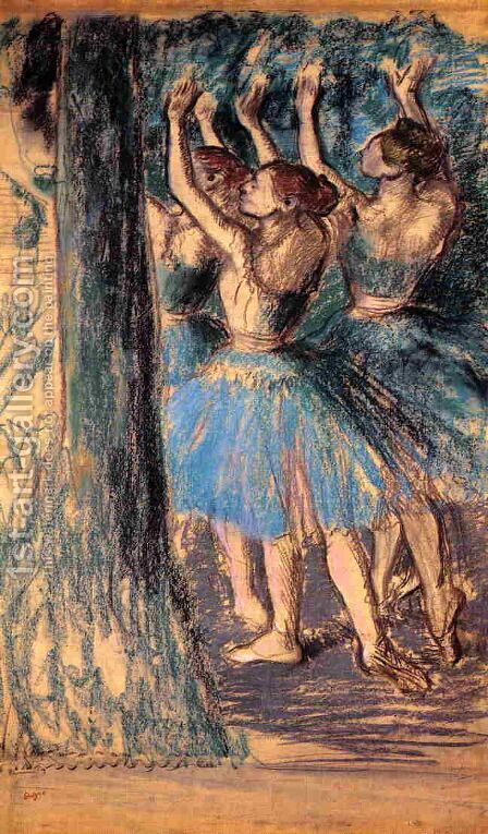 Group of Dancers, Tree Decor by Edgar Degas - Reproduction Oil Painting