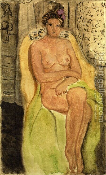 Nude in an Armchair, Legs Crossed by Henri Matisse - Reproduction Oil Painting