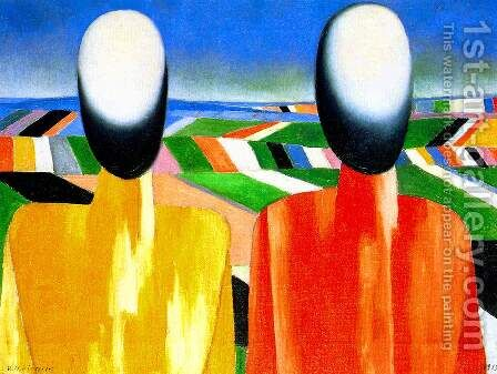 Two peasants by Kazimir Severinovich Malevich - Reproduction Oil Painting