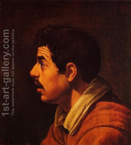 Head of a Young Man in Profile by Velazquez - Reproduction Oil Painting