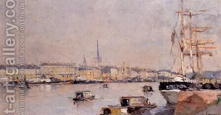 The Port of Rouen with Cathedral by Albert Lebourg - Reproduction Oil Painting