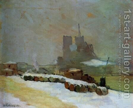 View of Notre Dame, Winter by Albert Lebourg - Reproduction Oil Painting