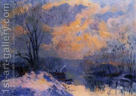 The Small Branch of the Seine at Bas-Meudon: Snow and Wiinter Sun by Albert Lebourg - Reproduction Oil Painting