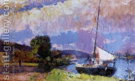 The Banks of the Seine: Caumont in Summer by Albert Lebourg - Reproduction Oil Painting