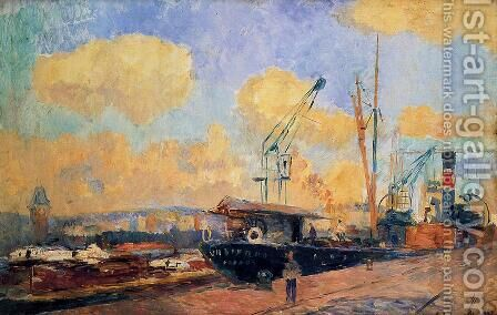 Steamers and Barges in the Port of Rouen, Sunset by Albert Lebourg - Reproduction Oil Painting