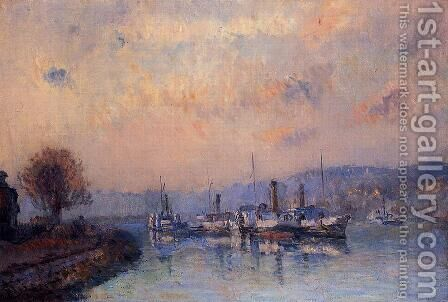 At Anchor, near Rouen by Albert Lebourg - Reproduction Oil Painting
