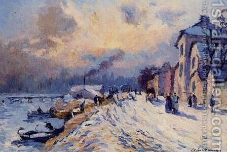 Banks of the Seine, Winter at Herblay by Albert Lebourg - Reproduction Oil Painting