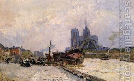 Notre Dame de Paris, View from Pont de la Tournelle by Albert Lebourg - Reproduction Oil Painting