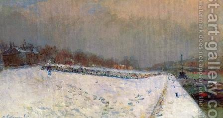 The Port of Bercy, in Winter, Snow Effect by Albert Lebourg - Reproduction Oil Painting