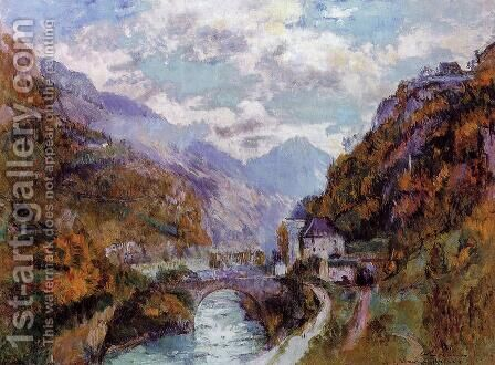 The Rhone at Saint-Maurice, Valais by Albert Lebourg - Reproduction Oil Painting