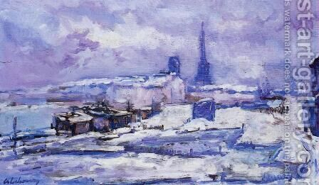 Rouen, Snow Effect by Albert Lebourg - Reproduction Oil Painting
