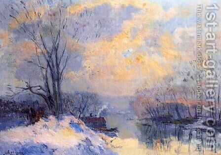 The Small Branch of the Seine at Bas Meudon, Snow and Sunlight by Albert Lebourg - Reproduction Oil Painting