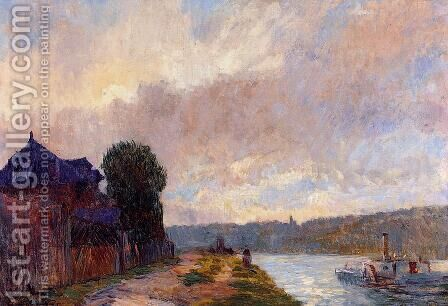 Tugboat on the Seine Downstream from Rouen by Albert Lebourg - Reproduction Oil Painting