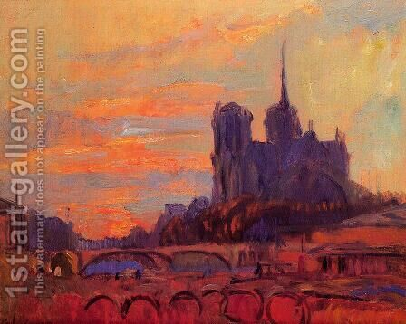 View of Notre Dame and the Seine by Albert Lebourg - Reproduction Oil Painting