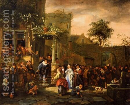 A Village Wedding by Jan Steen - Reproduction Oil Painting