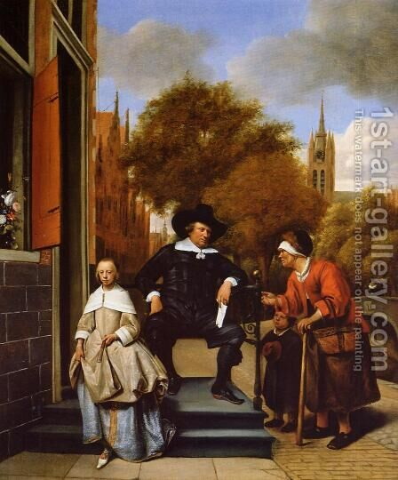 The Burgher of Delft and His Daughter by Jan Steen - Reproduction Oil Painting
