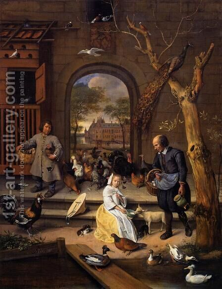 The Poultry Yard by Jan Steen - Reproduction Oil Painting