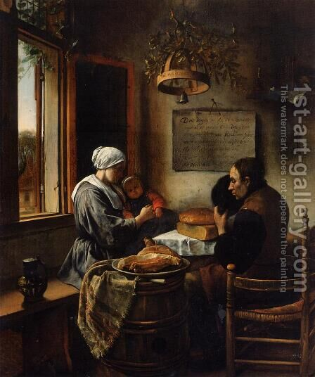 The Prayer before the Meal by Jan Steen - Reproduction Oil Painting