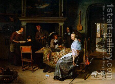 The Cardplayers by Jan Steen - Reproduction Oil Painting