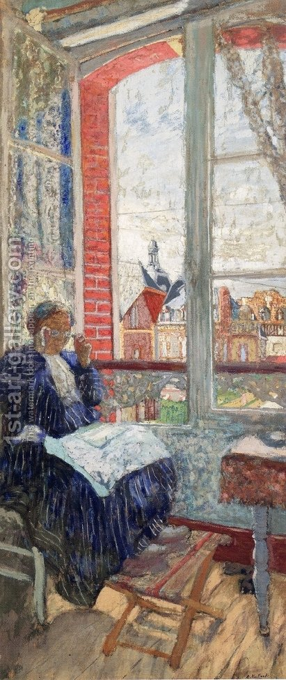 Madame Vuillard the the Hotel des Ducs de Normandie by Edouard  (Jean-Edouard) Vuillard - Reproduction Oil Painting