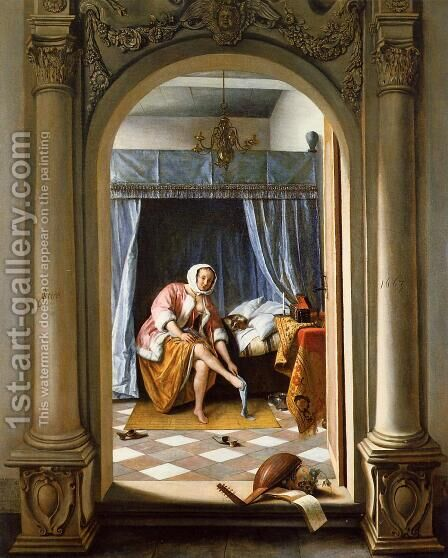 Woman at Her Toilet by Jan Steen - Reproduction Oil Painting