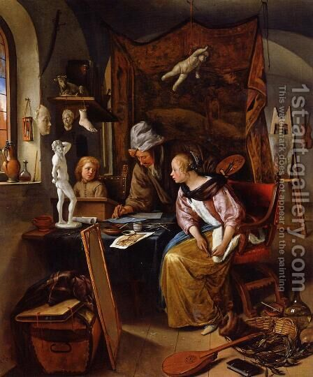 The Drawing Lesson by Jan Steen - Reproduction Oil Painting