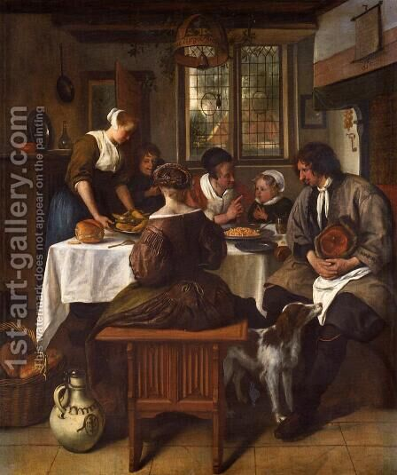The Prayer before the Meal I by Jan Steen - Reproduction Oil Painting
