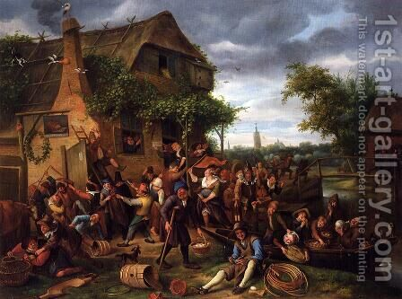 A Village Revel by Jan Steen - Reproduction Oil Painting