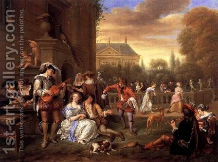 The Garden Party by Jan Steen - Reproduction Oil Painting