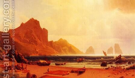 The Marina Piccdola, Capri by Albert Bierstadt - Reproduction Oil Painting