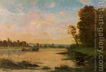 Summer Morning on the Oise by Charles-Francois Daubigny - Reproduction Oil Painting