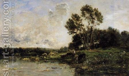 The Banks of the Oise by Charles-Francois Daubigny - Reproduction Oil Painting