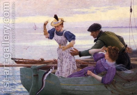 Her First Catch by Alfred Guillou - Reproduction Oil Painting