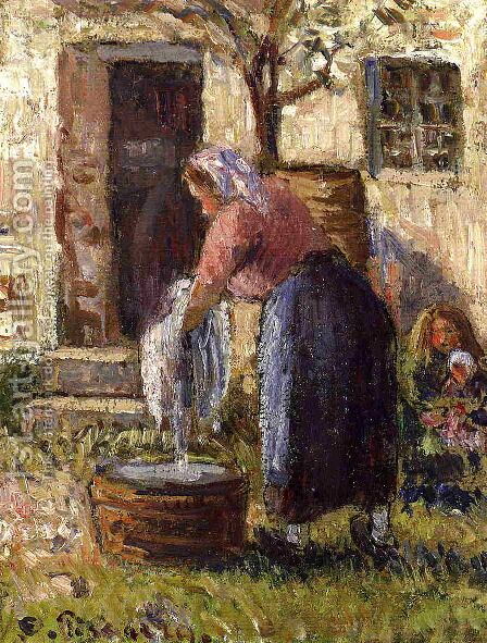 The Laundry Woman by Camille Pissarro - Reproduction Oil Painting