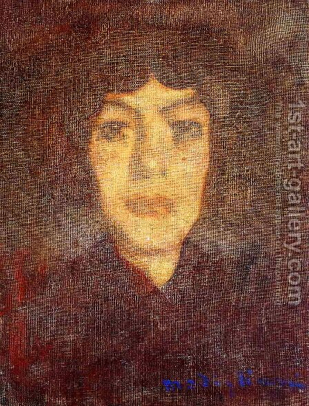 Woman's Head with Beauty Spot by Amedeo Modigliani - Reproduction Oil Painting