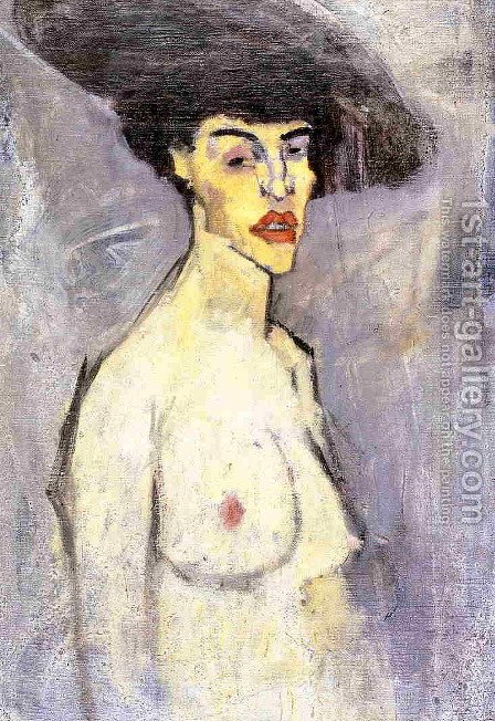 Nude with Hat by Amedeo Modigliani - Reproduction Oil Painting