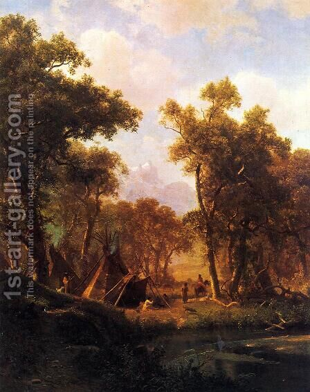 Indian Encampment, Shoshone Village by Albert Bierstadt - Reproduction Oil Painting