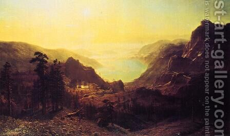 View of Donner Lake, California by Albert Bierstadt - Reproduction Oil Painting