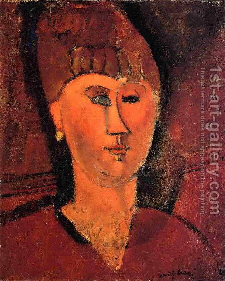 Head of Red-Haired Woman by Amedeo Modigliani - Reproduction Oil Painting