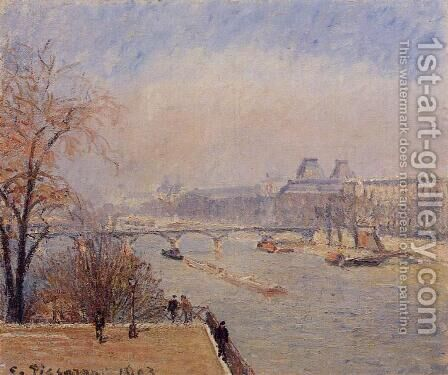 The Louvre - March Mist by Camille Pissarro - Reproduction Oil Painting