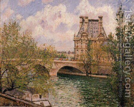 The Pavillion de Flore and the Pont Royal by Camille Pissarro - Reproduction Oil Painting