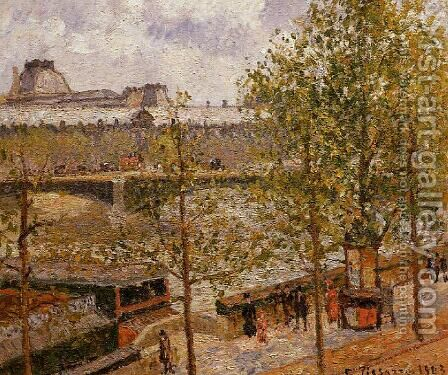 The Louvre, Morning, Sun, Quai Malaquais by Camille Pissarro - Reproduction Oil Painting