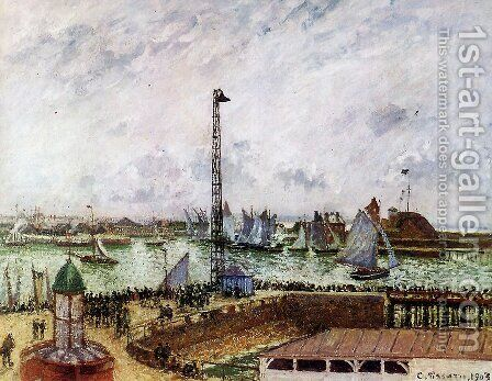 The Pilot's Jetty, Le Havre, Morning, Grey Weather, Misty by Camille Pissarro - Reproduction Oil Painting