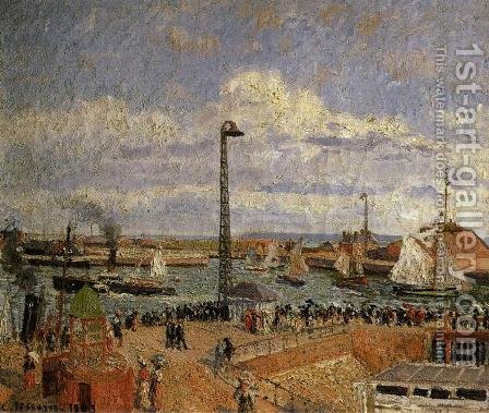 The Pilot's Jetty, Le Havre - High Tide, Afternoon Sun by Camille Pissarro - Reproduction Oil Painting