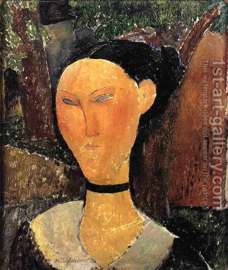 Woman with Velvet Ribbon by Amedeo Modigliani - Reproduction Oil Painting