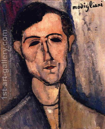Man's Head by Amedeo Modigliani - Reproduction Oil Painting