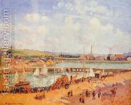 The Port of Dieppe, the Dunquesne and Berrigny Basins: High Tide, Sunny Afternoon by Camille Pissarro - Reproduction Oil Painting